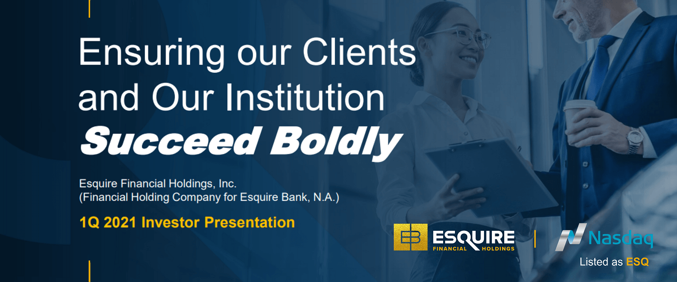 Esquire Financial Holdings, Inc. Files New Investor Presentation with the SEC on Form 8-K